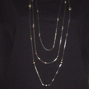 Metal Beaded Multi 3 Strand Long Necklace Chain